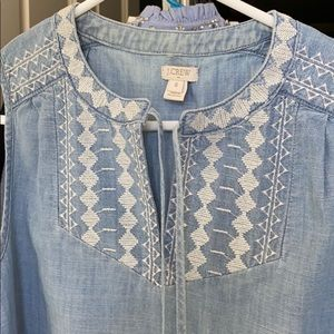 J. Crew Chambray Embroidered Sleeveless Top